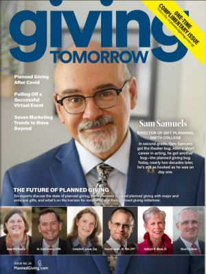 Giving Tomorrow Magazine Cover Features Samuels of Smith College and The Future of Planned Giving