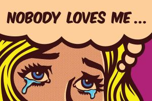 retro illustration young woman saying nobody loves me
