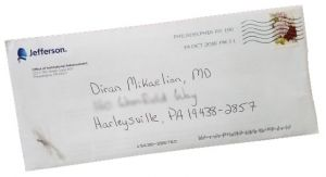 Hand addressed envelope with solicitation