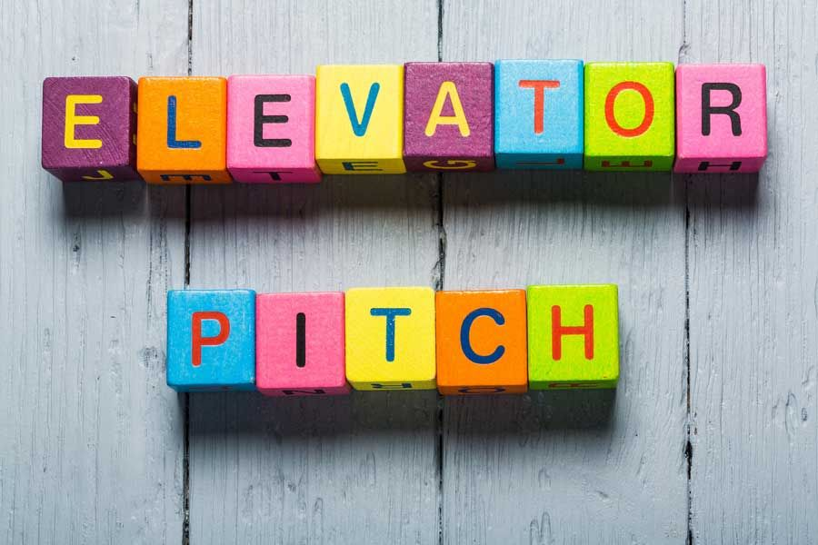 Elevator Pitch Illustration With Colored Square Blocks