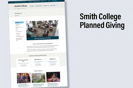 Smith College Planned Giving Website
